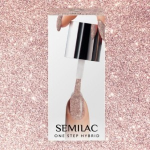 S245 Semilac One Step Hybrid Glitter Pink Beige 5ml Gel Lak